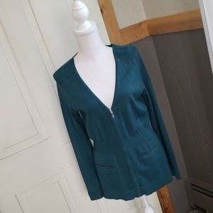 Dark turquoise bluegreen...   zipper cardigan!